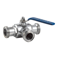 Stainless steel hygienic 3-way ball valve